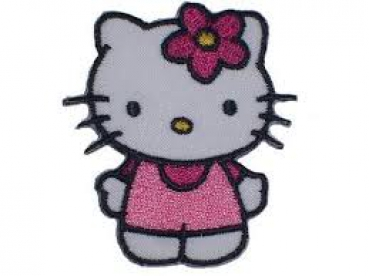Applikation - Hello Kitty rosa mit Blume